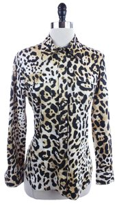 Jones New York Leopard Button Top Brown