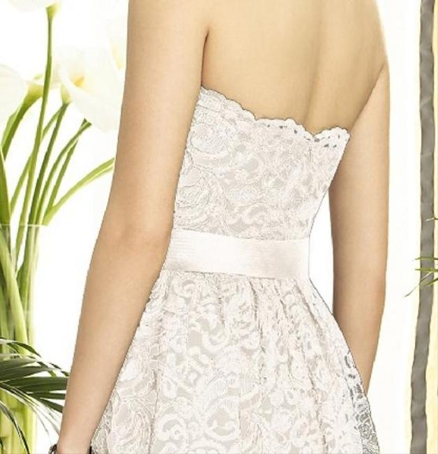 Dessy Knee-length Strapless Lace Dress