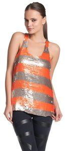 Parker Sequined Racer-back Orange Top Gold