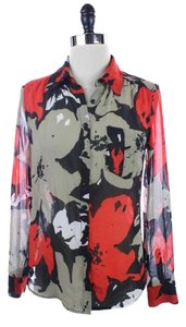 Guess Black Abstract Floral Top Red