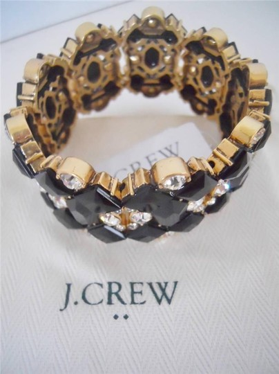 J.Crew J Crew Glass & Epoxy Stone Links 2 Inch Bracelet Black NWT/Dust Pouch RV $35