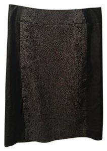 H&M Pencil Tweed Leather Office Mini Skirt Grey
