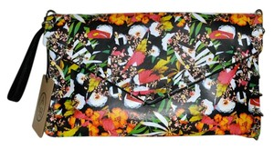 Ash Summer Leather Multi Colored Floral Print Clutch