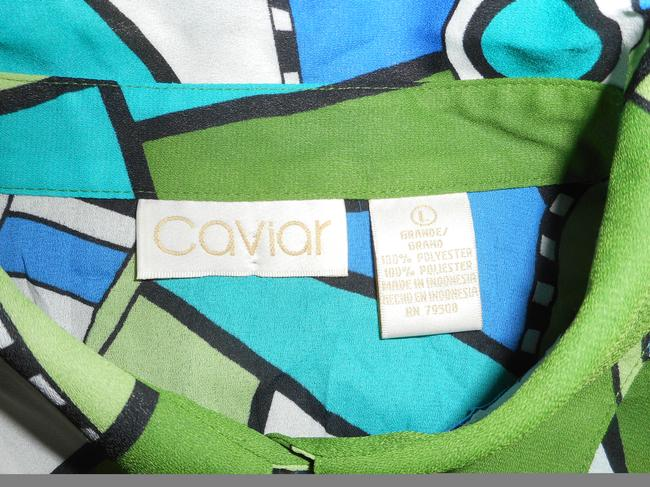 Caviar Longsleeve Button Down Dressy Abstract Top Multi Image 1