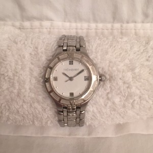 Saint Laurent Women's Silver W/White Face & Date Watch