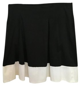 Sharagano Mini Skirt Black with white trim