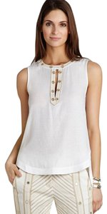 BCBGMAXAZRIA Embellished Summer Spring Sleeveless Top White