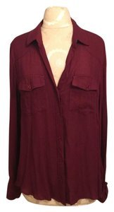 Bella Dahl Fall Button Down Shirt Maroon