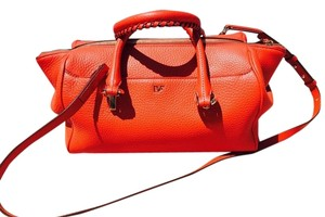 Diane von Furstenberg Leather Satchel in red/coral