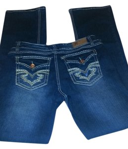 Royal Blue Boot Cut Jeans-Dark Rinse