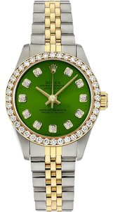 Rolex Oyster Perpetual Two-Tone Custom Green diamond Dial No Date Watch
