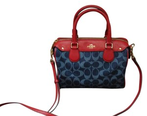 Coach Satchel in navy and red