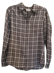 Equipment Plaid Checkered Silk Blouse Button Down Shirt Black, White