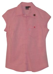 Volcom Summer Casual Cotton Button Down Shirt Pink