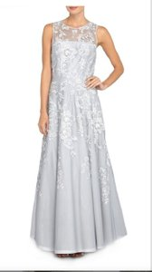 Tahari Silver/grey Floral Embroidered Mesh Ballgown Dress