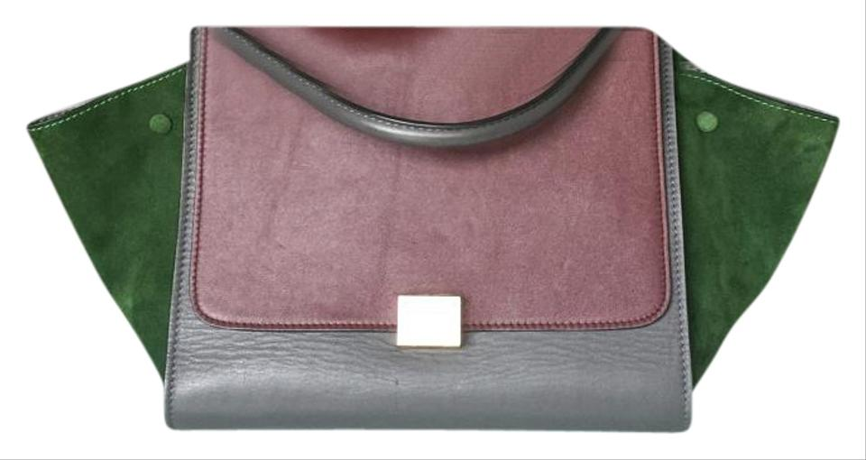 buy celine nano - C��line Trapeze Tricolor Medium Burgundy/Grey/Green Satchel on Sale ...