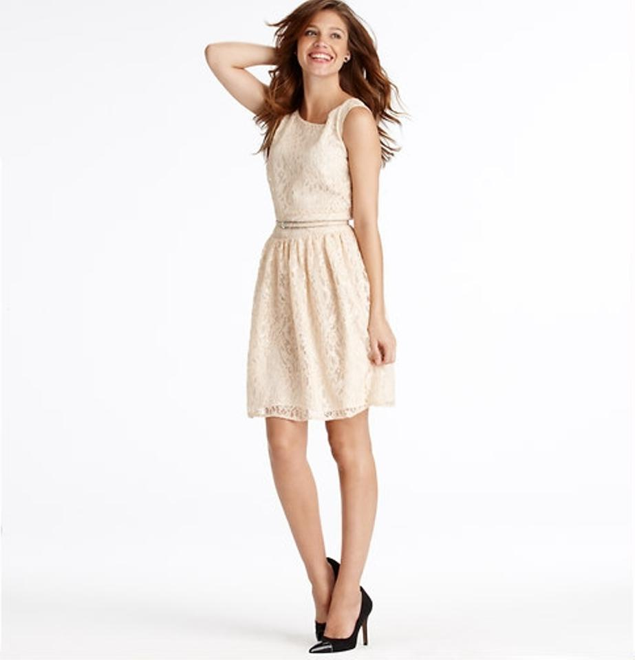Ann Taylor LOFT White Shimmer Lace Above Knee Cocktail Dress Size ...