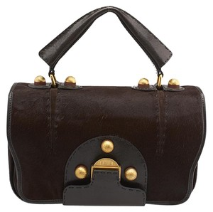 Fendi Secret Code Pony Hair Satchel Shoulder Bag