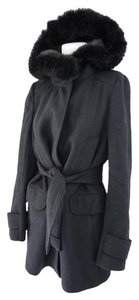 Saks Fifth Avenue Mink Trim Winter Pea Coat