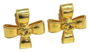 Chanel CHANEL RIBBON BOW EARRINGS CC LOGO GOLD-TONE , MADE IN FRANCE