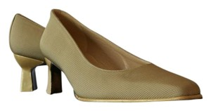 Stuart Weitzman Nylon Texture Leather Sole Gold Beige Pumps