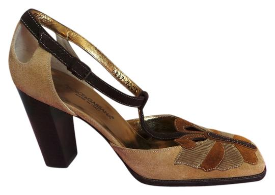 Dolce&Gabbana Vintage Butterfly Tstrap Mary Jane Corduroy Tan, Beige, Brown Pumps