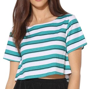 Urban Outfitters Crop Striped Cool Chic T Shirt Green, Black and White
