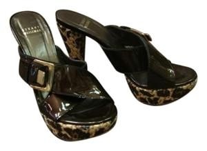 Stuart Weitzman Patent brown and leopard Sandals