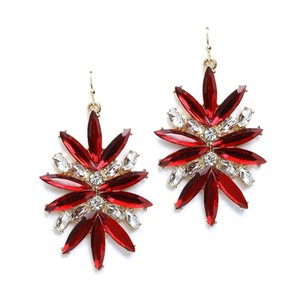Mariell Red Starburst Bling Earrings For Prom Or Homecoming 4294e-re-g