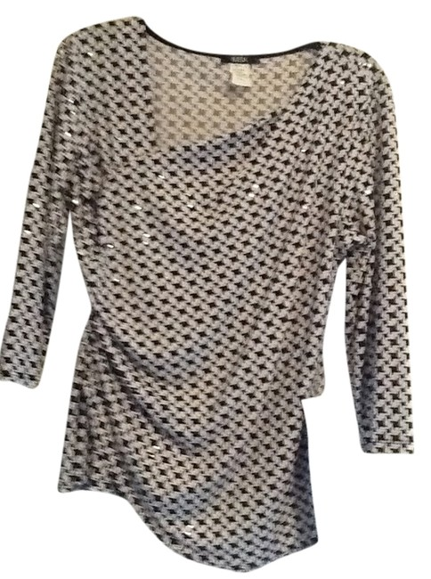 MSK Top Black and white shines houndstooth