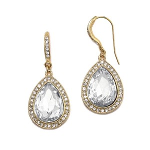 Mariell Top Selling Clear Crystal Teardrop Earrings With Gold Pave Accents 4247e-cr-g
