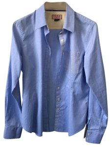 PINK Button Down Shirt Chambray blue