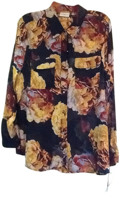Liz Claiborne Top Navy and floral