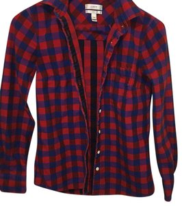 J.Crew Button Down Shirt Red/Blue