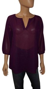Alloy Apparel Peasant Sheer Top Plum