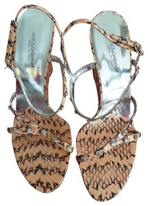 Dolce&Gabbana Dolce & Gabbana Runway Jewels LIGHT PEACH AND BROWN SNAKESKIN Wedges
