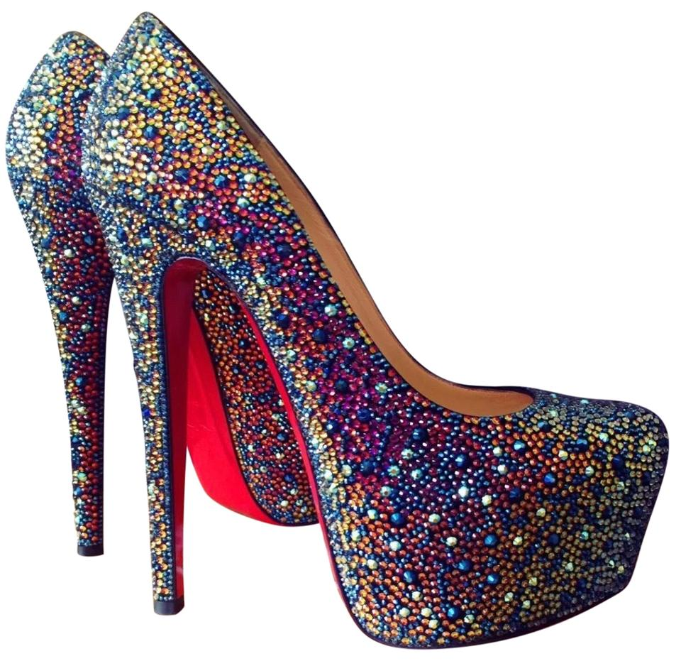 new arrival 883e8 2294f Christian Louboutin Multicolor Daffodile Strass 160 Veau Velours Platforms  Size US 8 Regular (M, B) 52% off retail