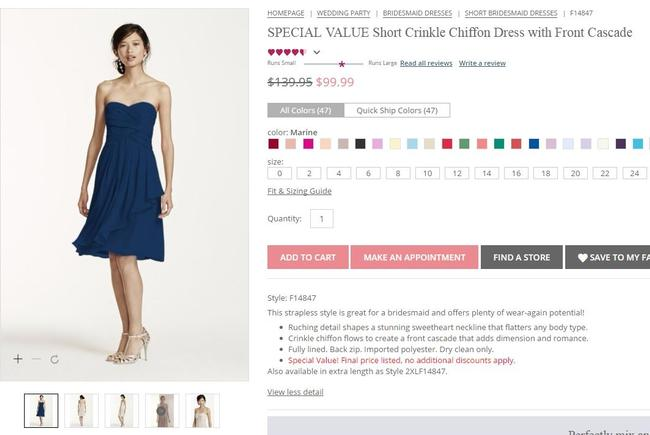 Item - Marine / Navy Chiffon Short Crinkle Front Cascade Style #f14847 Traditional Bridesmaid/Mob Dress Size 6 (S)