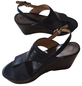 Coach Black COACH canvas / Leather Wedges