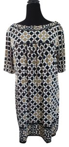 Nine West short dress black/cream/brown/beige and white print on Tradesy