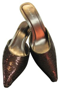 Rampage Size 10.00 Sequins Very Good Condition Bronze, Black Mules