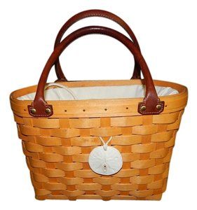 Longaberger Purse Handbag Basket Medium Boardwalk 2001 Drawstring & Insert Satchel in Natural and Brown