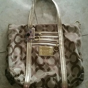 Coach Poppy Glam Tote in gold