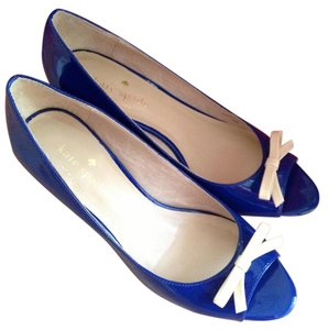 Kate Spade Bow Peep Toe Patent Leather Royal Blue Wedges
