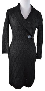 Calvin Klein short dress Black Knit Cable Ribbed Texture on Tradesy