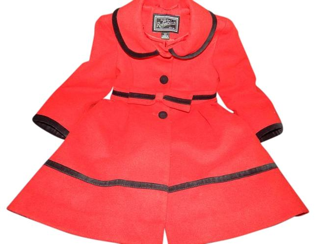 Item - Red Girl Toddler 3t Jacket Wool Black Velvet 3 T Mint Condition Child Baby Clothes Kids Lnc Coat Size 2 (XS)