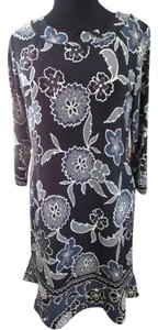 Nine West short dress Black, grey, blue and white print. on Tradesy