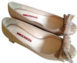 Prada Chunky Bow Patent Leather Beige Nude Pumps