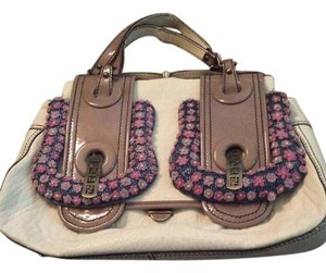 Fendi Cream Gray Purple Leather Shoulder Bag