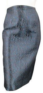 Barbara Tfank Floral Embroidered Knit Metallic Naturalistic Skirt Blue